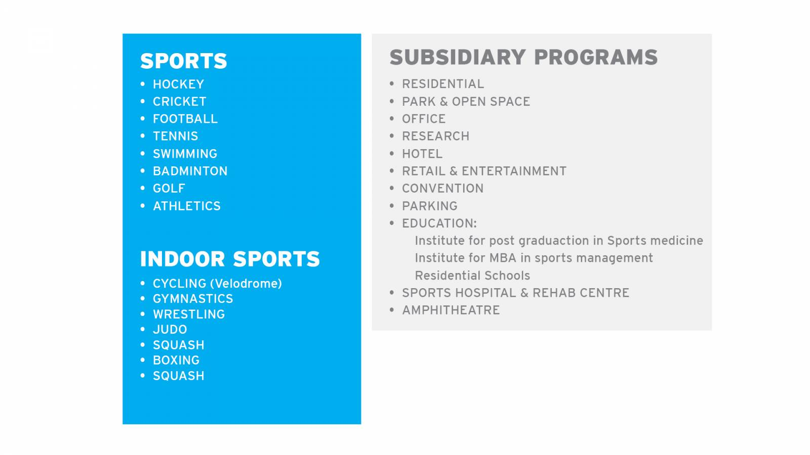 PROGRAMME - India Sport City - SPOL Architects