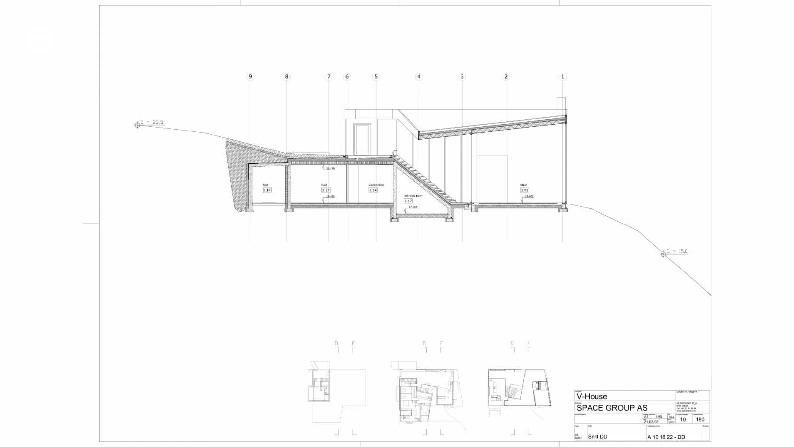 LONG SECTION - V-House - SPOL Architects