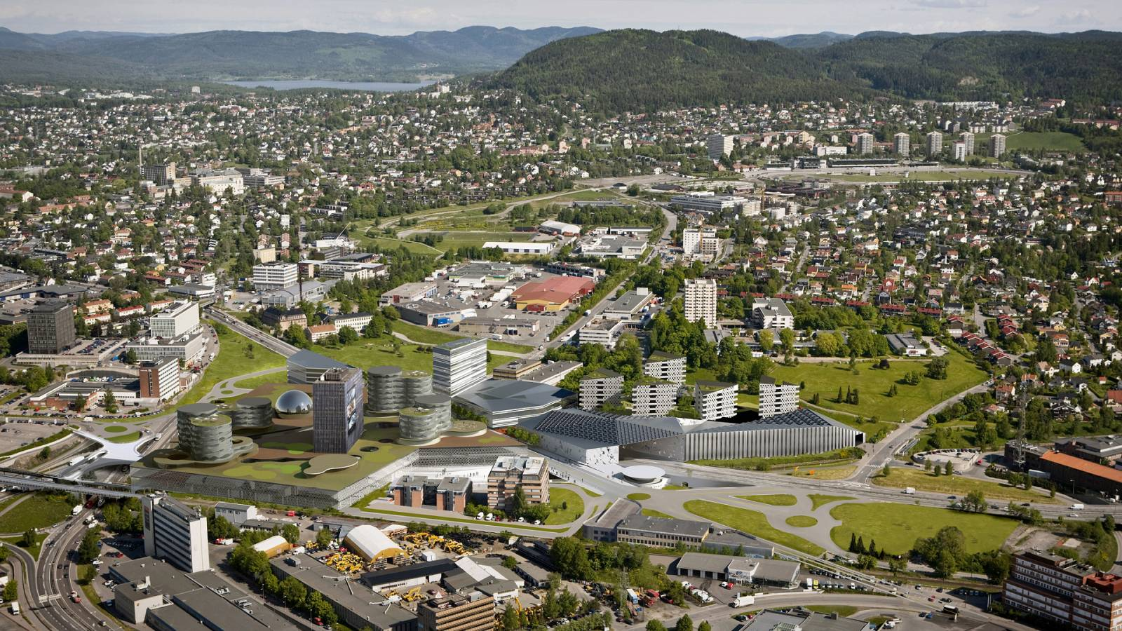 AERIAL VIEW - Økern Centre - SPOL Architects