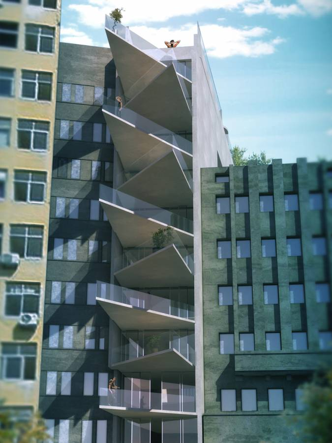 FACADE PERSPECTIVE - Salvador Lofts - SPOL Architects
