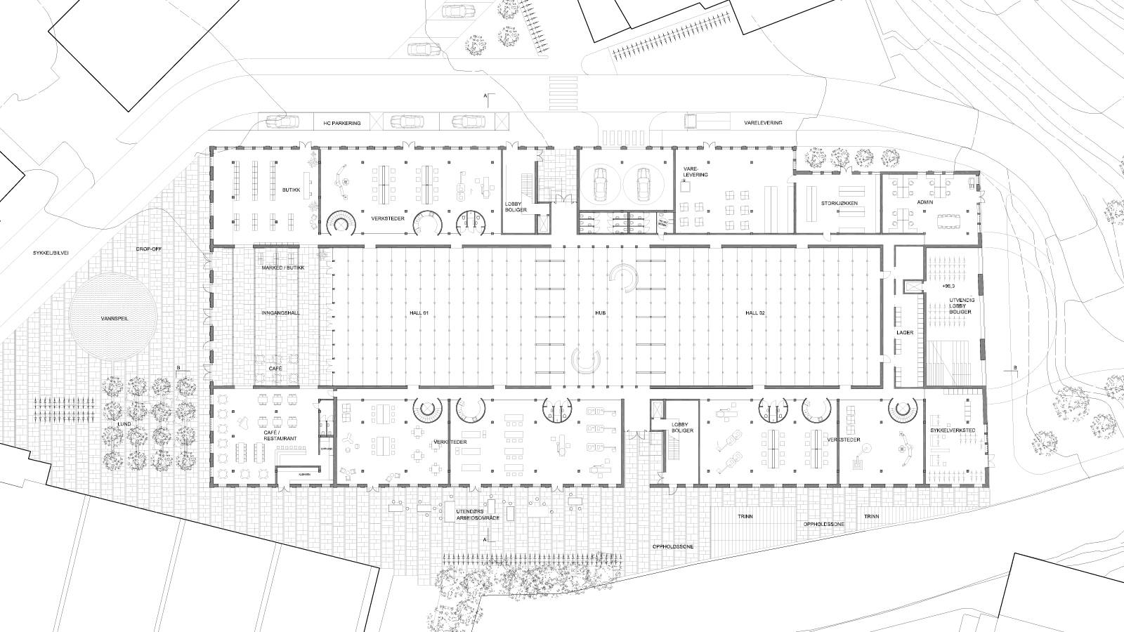 "GROUND FLOOR WORKSHOPS PLAN - Nydalsveien 32B – ""Huset"" - SPOL Architects"