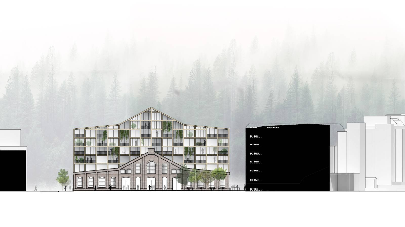 "FRONT ELEVATION TO PLAZA - Nydalsveien 32B – ""Huset"" - SPOL Architects"