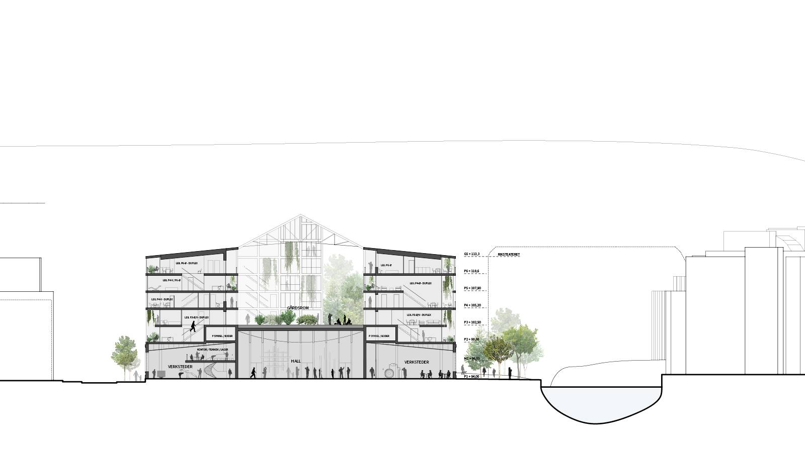 "CROSS SECTION THROUGH RIVER - Nydalsveien 32B – ""Huset"" - SPOL Architects"