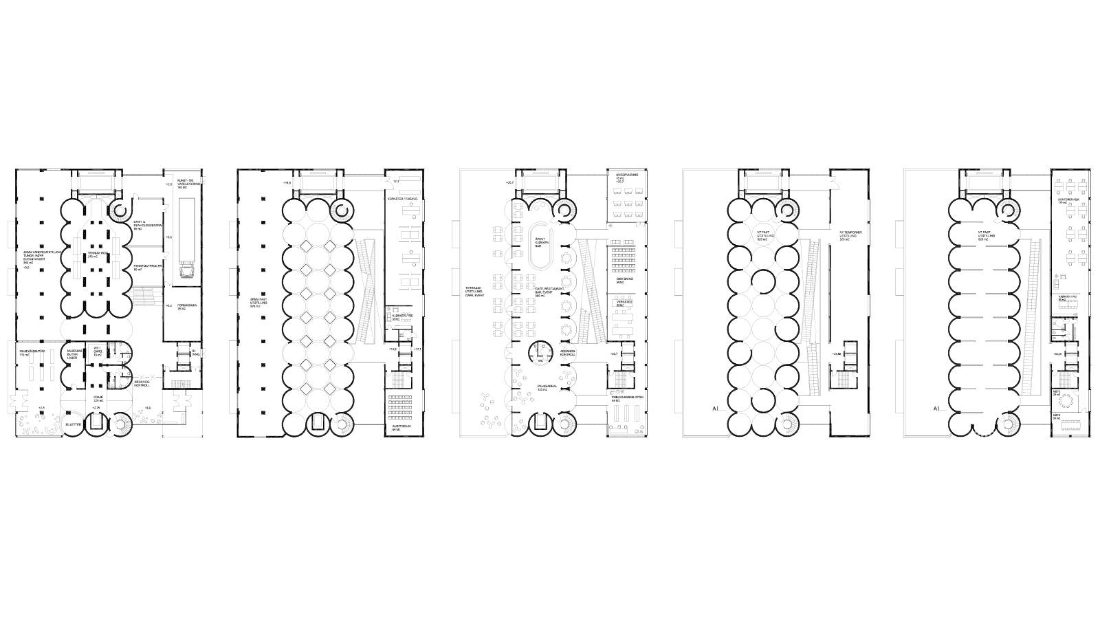 FLOOR PLAN 1, 2, 4, 5 AND 7 - Kunstsilo - SPOL Architects