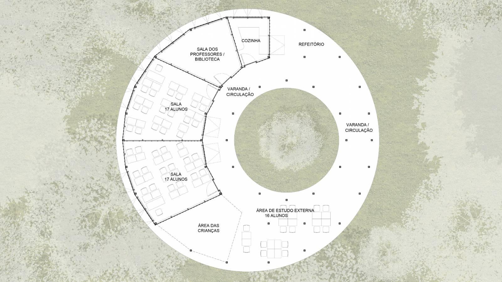 GROUND FLOOR PLAN - Igapó-Açu School - SPOL Architects