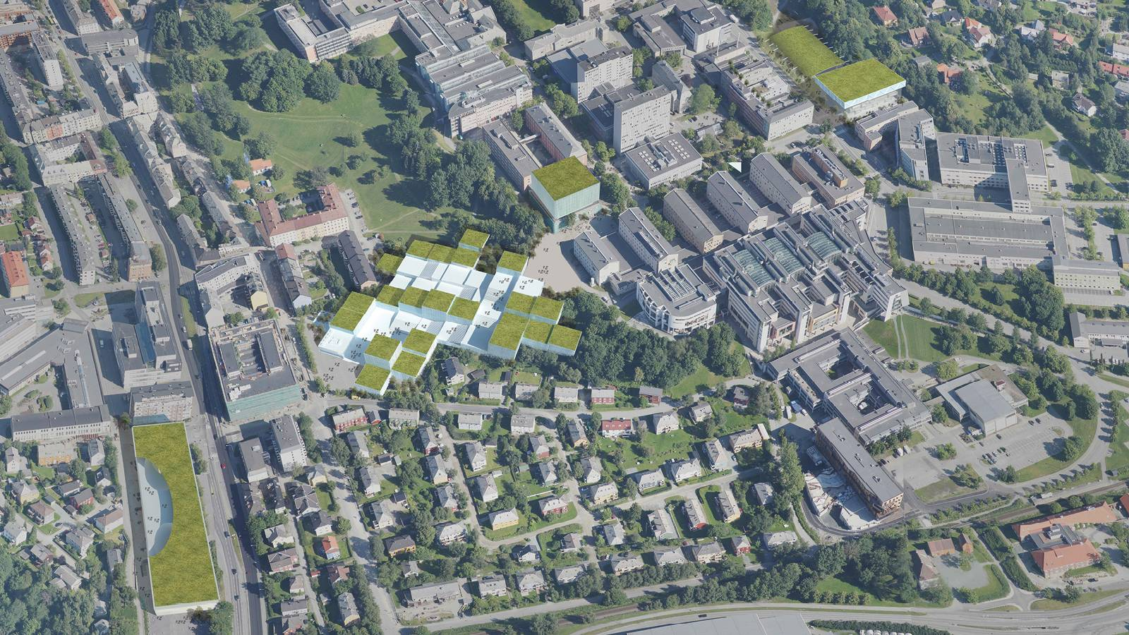 CAMPUS AERIAL VIEW - NTNU – Open Campus - SPOL Architects