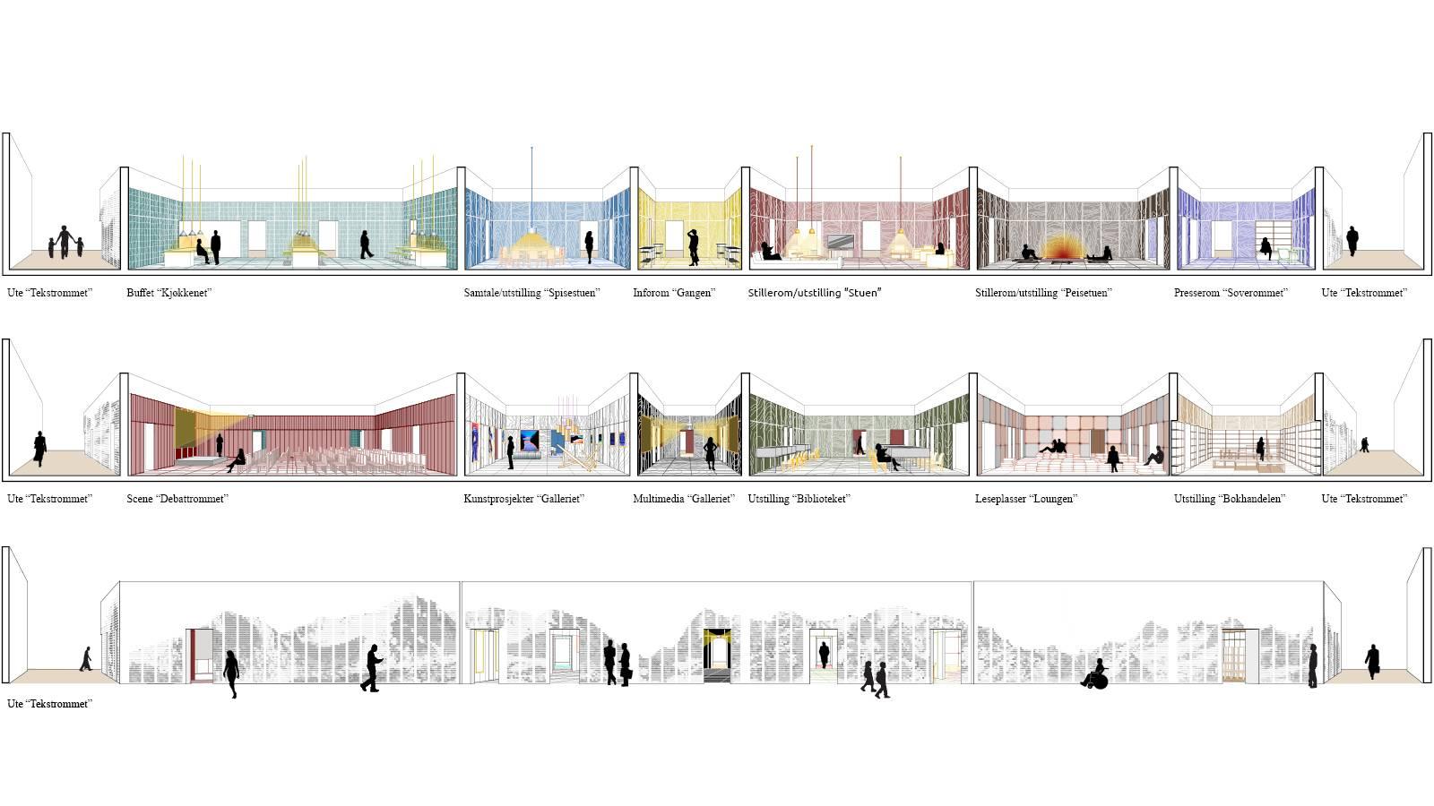 PAVILION ELEVATION AND SECTIONS - Frankfurt Book Fair Pavilion - SPOL Architects