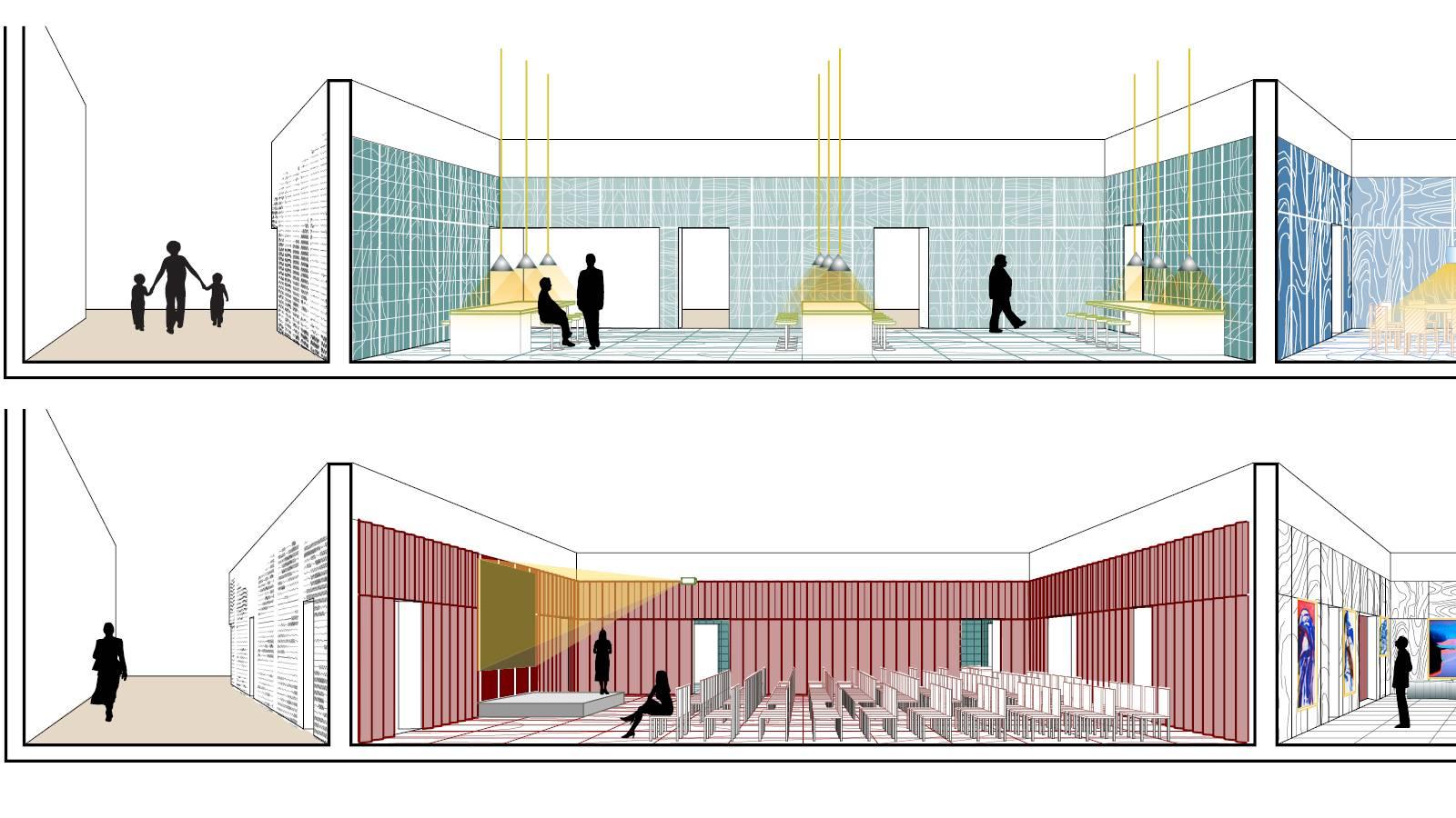 OUTSIDE - AUDITORIUM - KITCHEN - Frankfurt Book Fair Pavilion - SPOL Architects