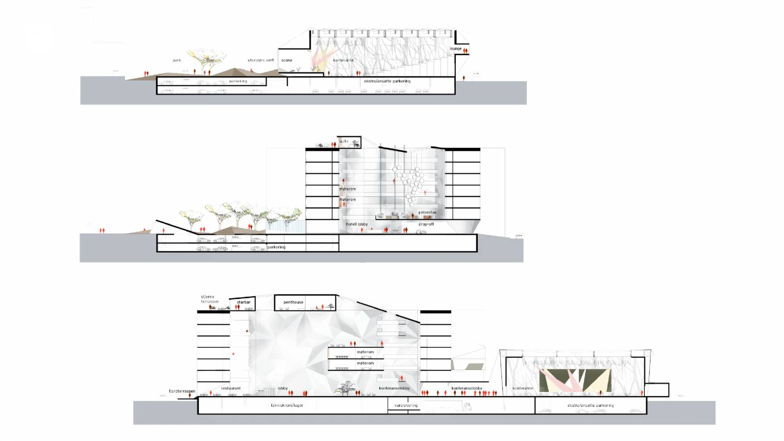 SECTIONS THROUGH ATRIUM - Clarion Hotel & Congress - SPOL Architects