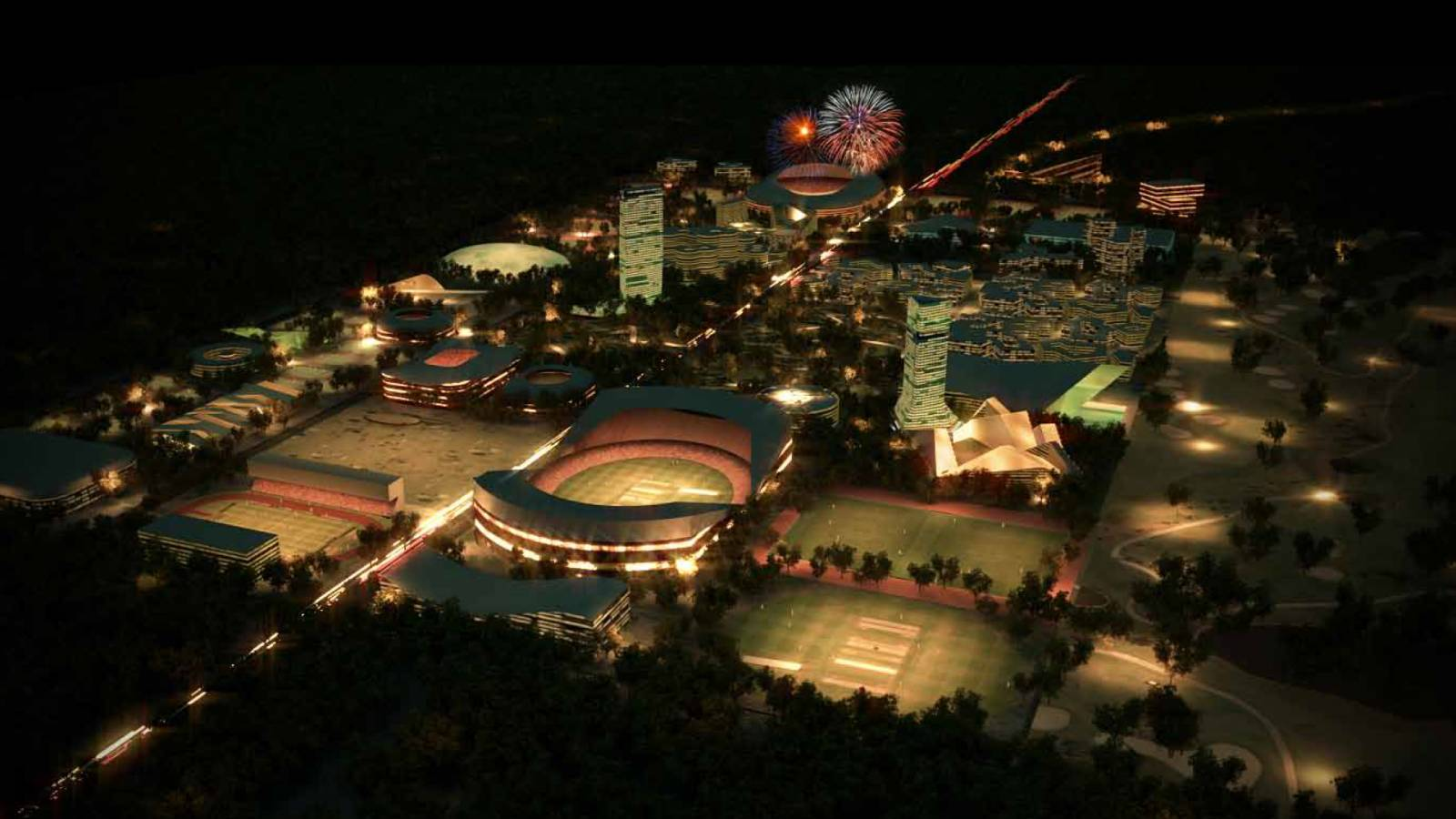 NIGHT VIEW - India Sport City - SPOL Architects