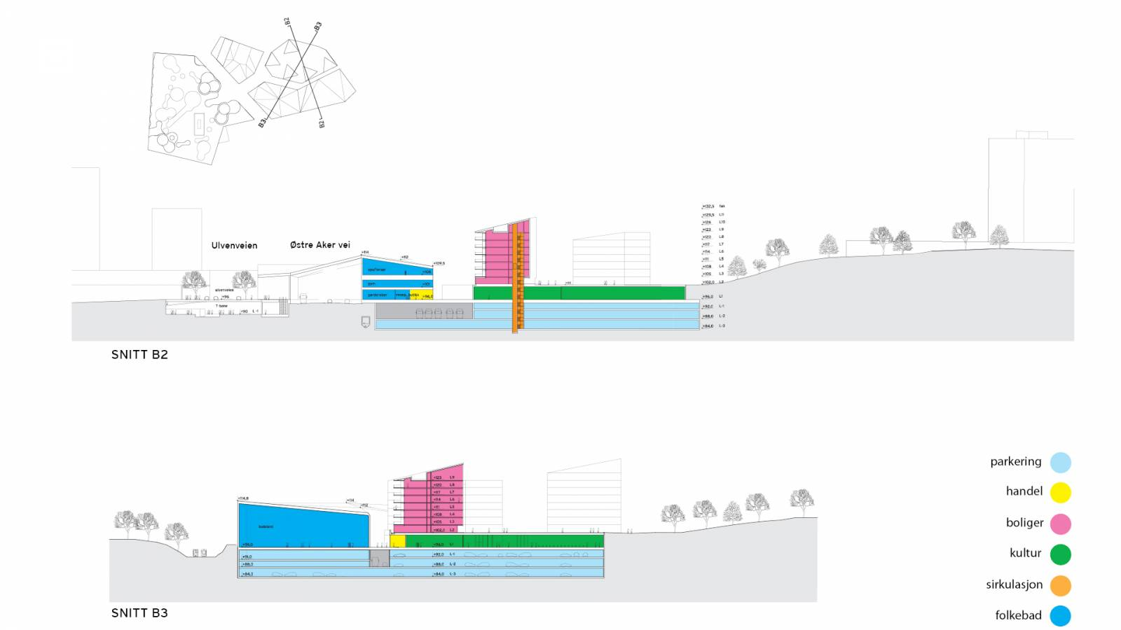 SECTIONS CULTURE AND HOUSING - Økern Centre - SPOL Architects