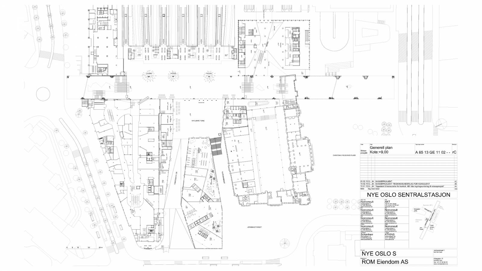 PLAN LEVEL +9 - OSLO CENTRAL STATION - SPOL Architects