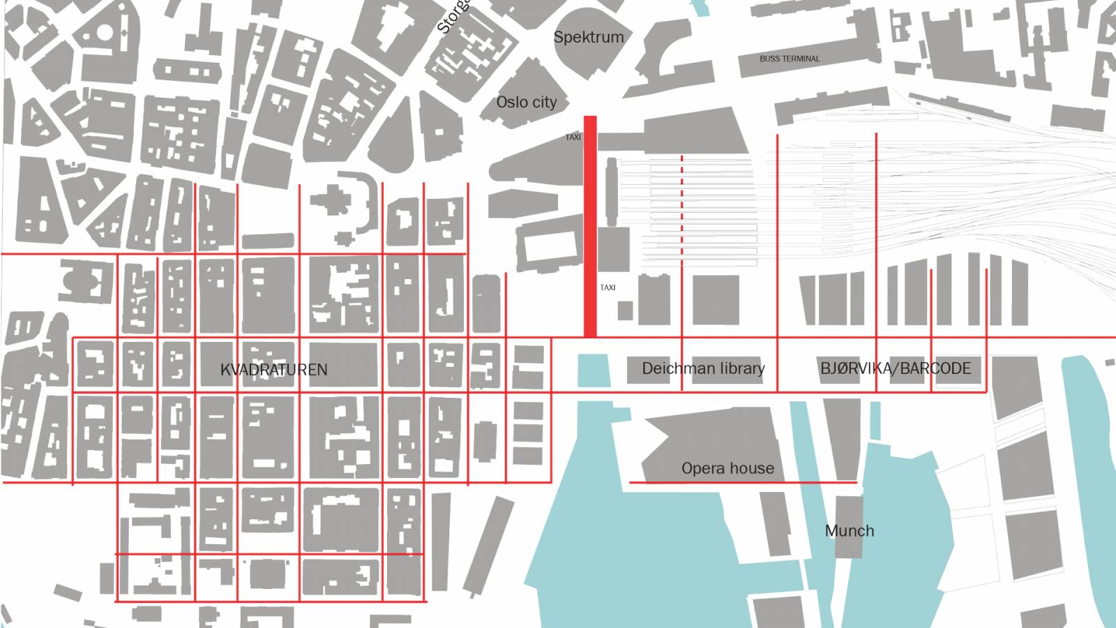 RELATION TO CITY GRID - OSLO CENTRAL STATION - SPOL Architects