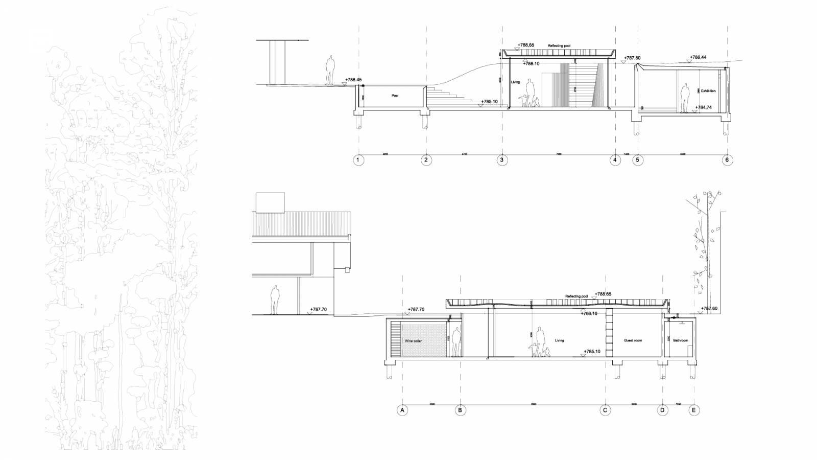 SECTION OF SUNKEN PAVILLION - São Paulo Art Pavillion - SPOL Architects