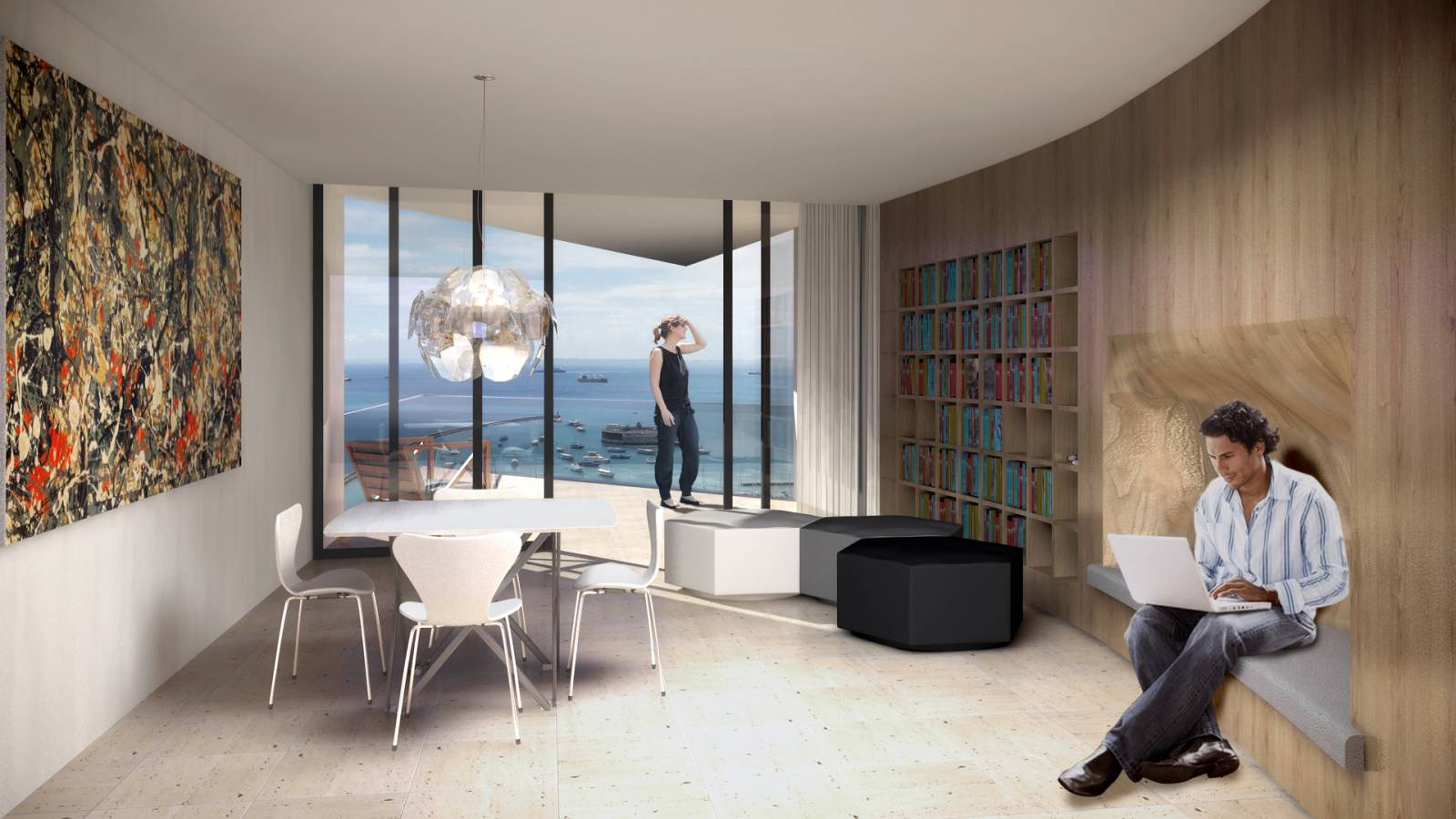 PENTHOUSE INTERIOR PERSPECTIVE  - Salvador Lofts - SPOL Architects
