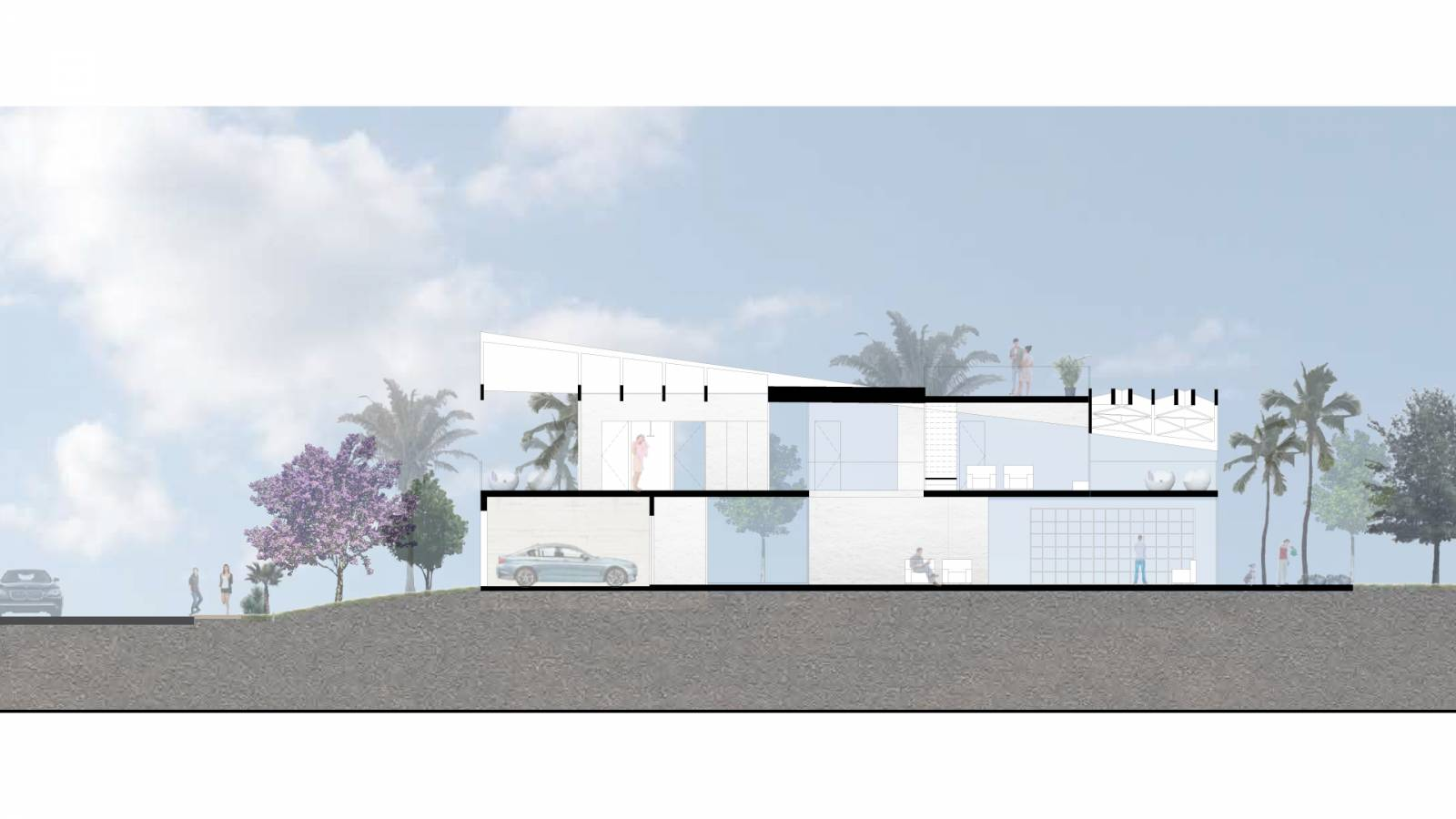 HOUSE #5 - SECTION - 6 case study houses - SPOL Architects
