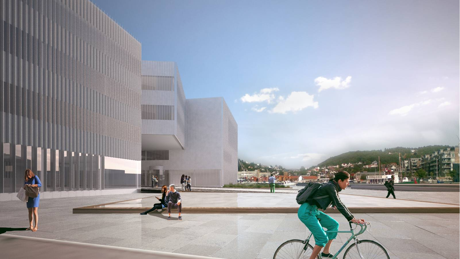 VIEW ALONG HARBOUR PROMENADE - Sandnes Town Hall - SPOL Architects