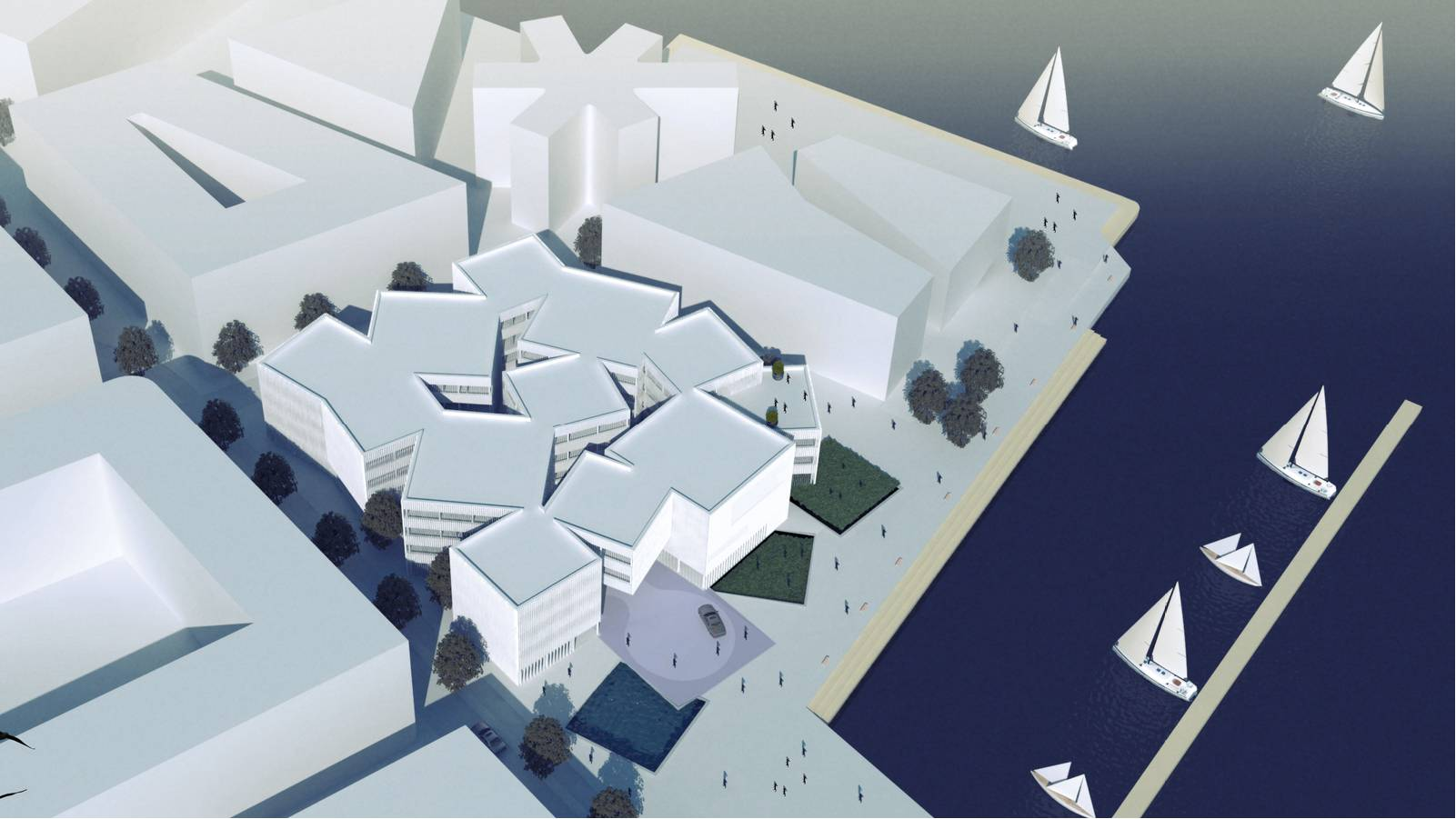 AERIAL VIEW FROM CITY CENTRE - Sandnes Town Hall - SPOL Architects