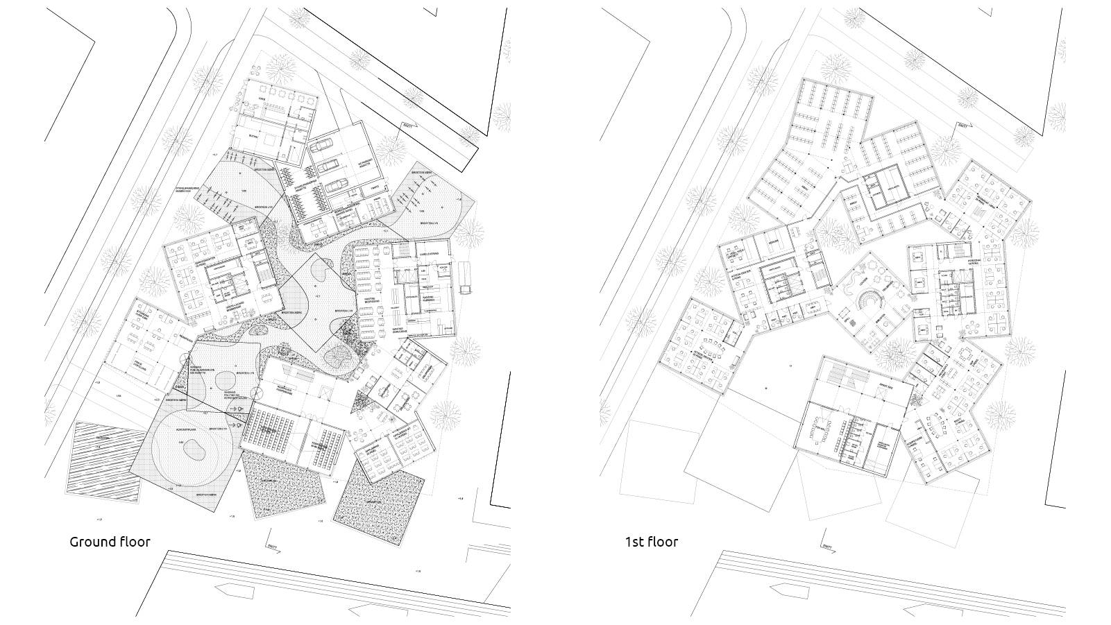 GROUND AND 1ST FLOOR PLAN - Sandnes Town Hall - SPOL Architects