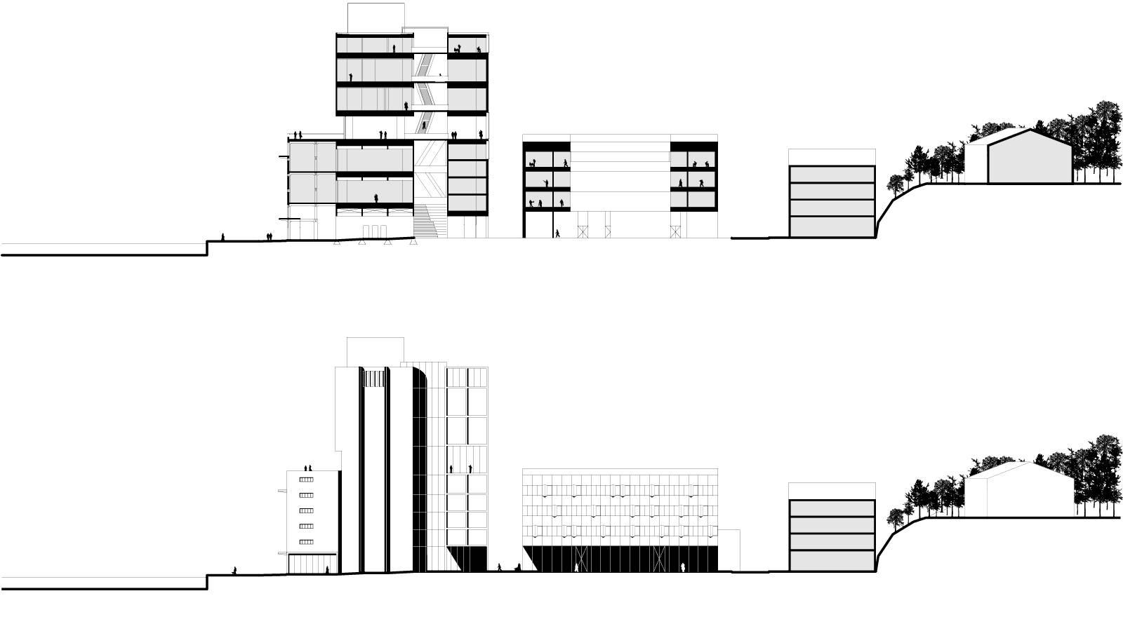 SECTION ACROSS SITE - ART SILO AND ART SCHOOL - Kunstsilo - SPOL Architects