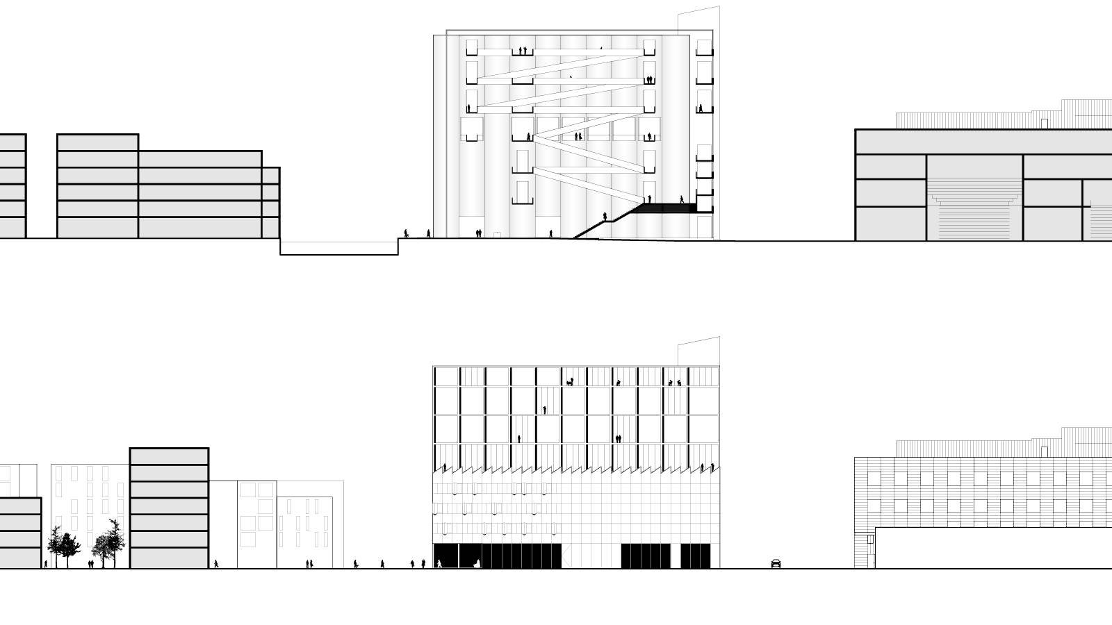 SECTIONS ALONG REAR OF SITE - ART SILO AND ART SCHOOL - Kunstsilo - SPOL Architects