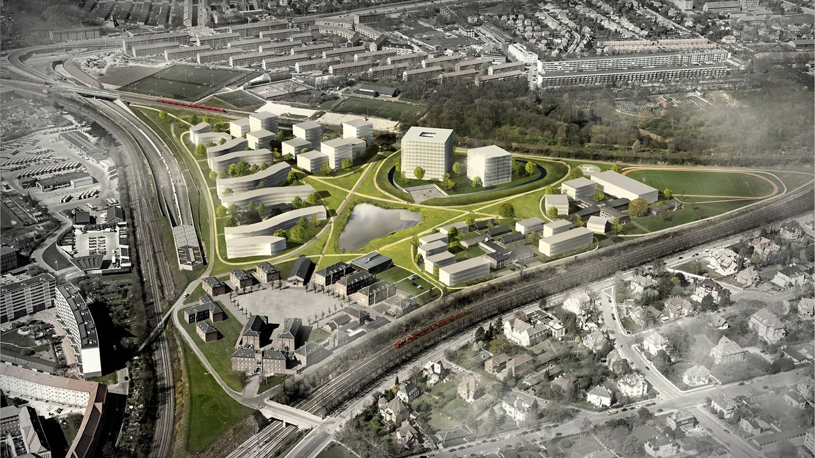 AERIAL VIEW - Svanemøllens Kaserne - SPOL Architects