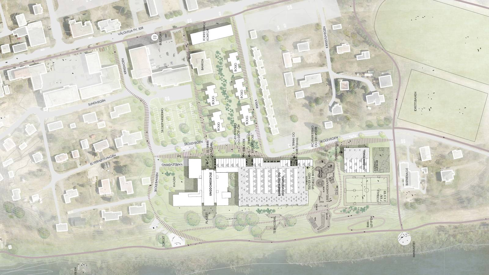 SITE PLAN - Våler Primary School - SPOL Architects