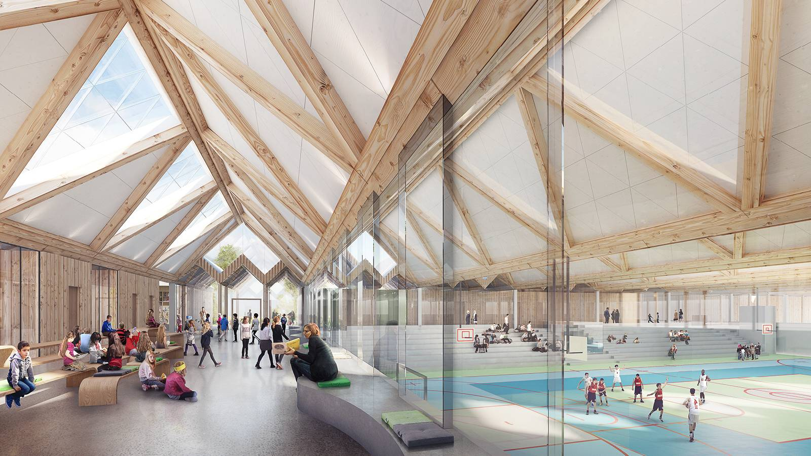 INTERIOR ASSEMBLY SPACE AND SPORTS HALL - Våler Primary School - SPOL Architects