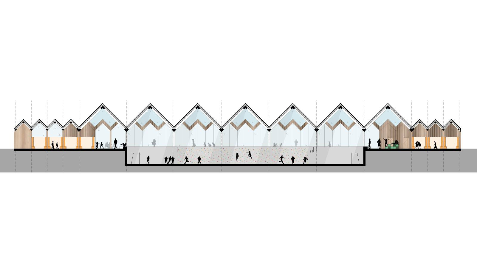 LONG SECTION THROUGH HALL - Våler Primary School - SPOL Architects