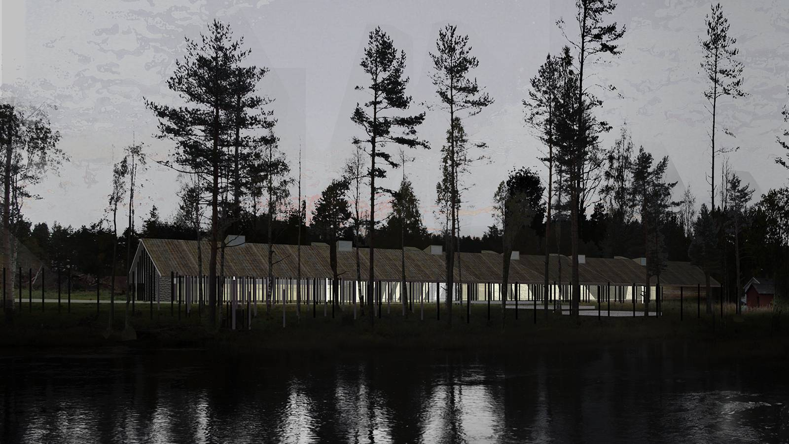 EVENING VIEW ACROSS ROTNA - Skogfinsk Museum - SPOL Architects