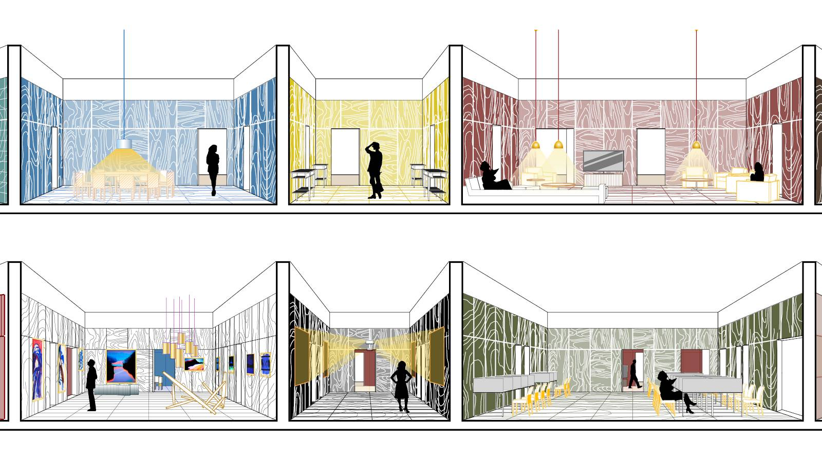 GALLERY - DINING ROOM - MEDIA GALLERY - LOBBY - LIBRARY - LIVING ROOM - Frankfurt Book Fair Pavilion - SPOL Architects