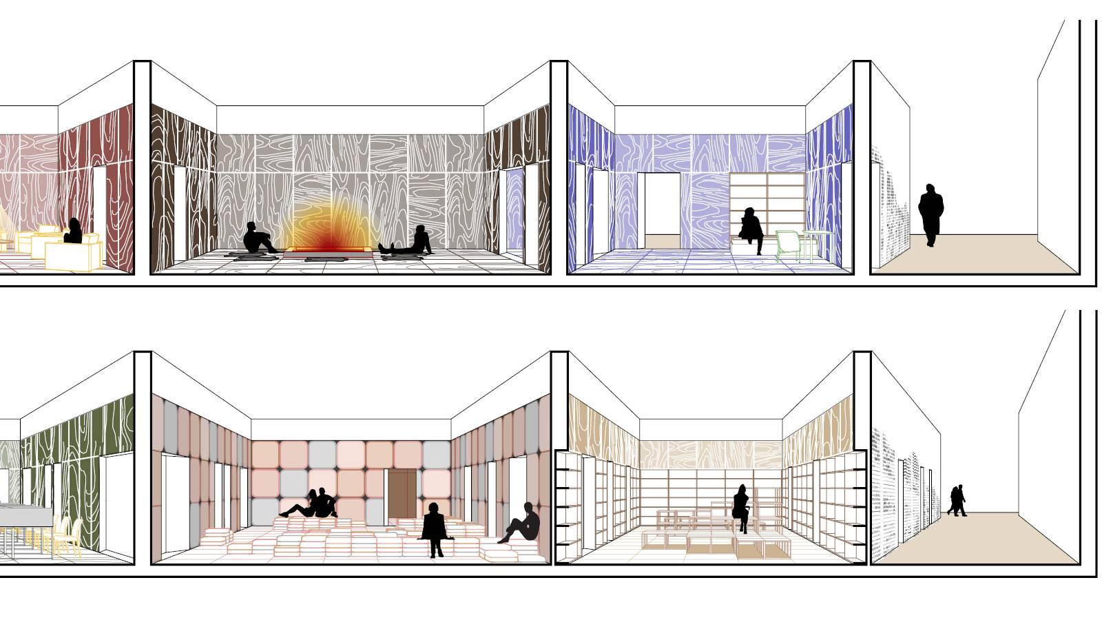 LOUNGE - FIREPLACE - BOOK STORE - BEDROOM - OUTSIDE - Frankfurt Book Fair Pavilion - SPOL Architects
