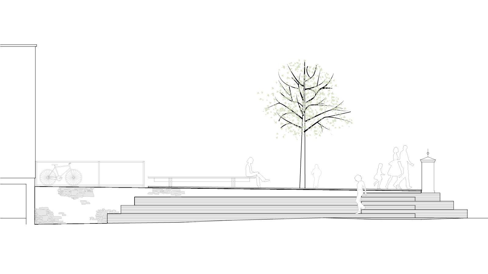 ELEVATION AMPHI STAIRCASE - St. Sunniva School Yard - SPOL Architects