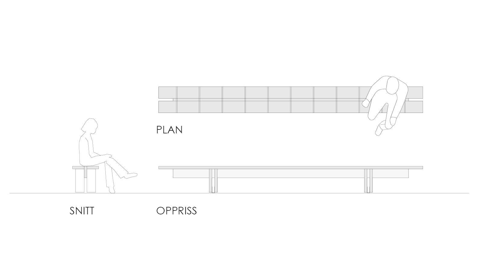 FREE STANDING BENCH DESIGN - St. Sunniva School Yard - SPOL Architects