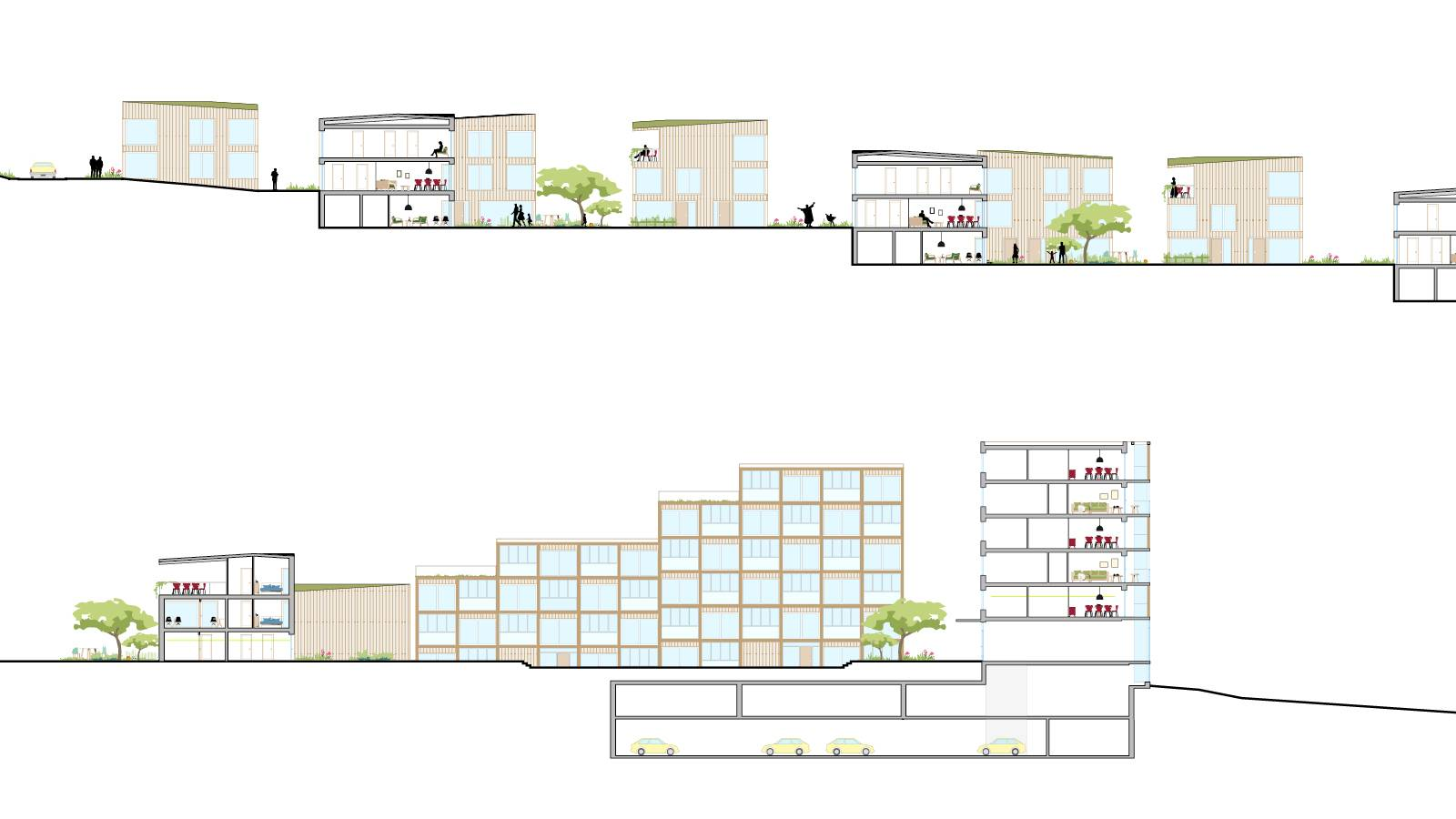 SECTIONS OF THE DIFFERENT HOUSING TYPOLOGIES - The Anker Garden in Hamar - SPOL Architects