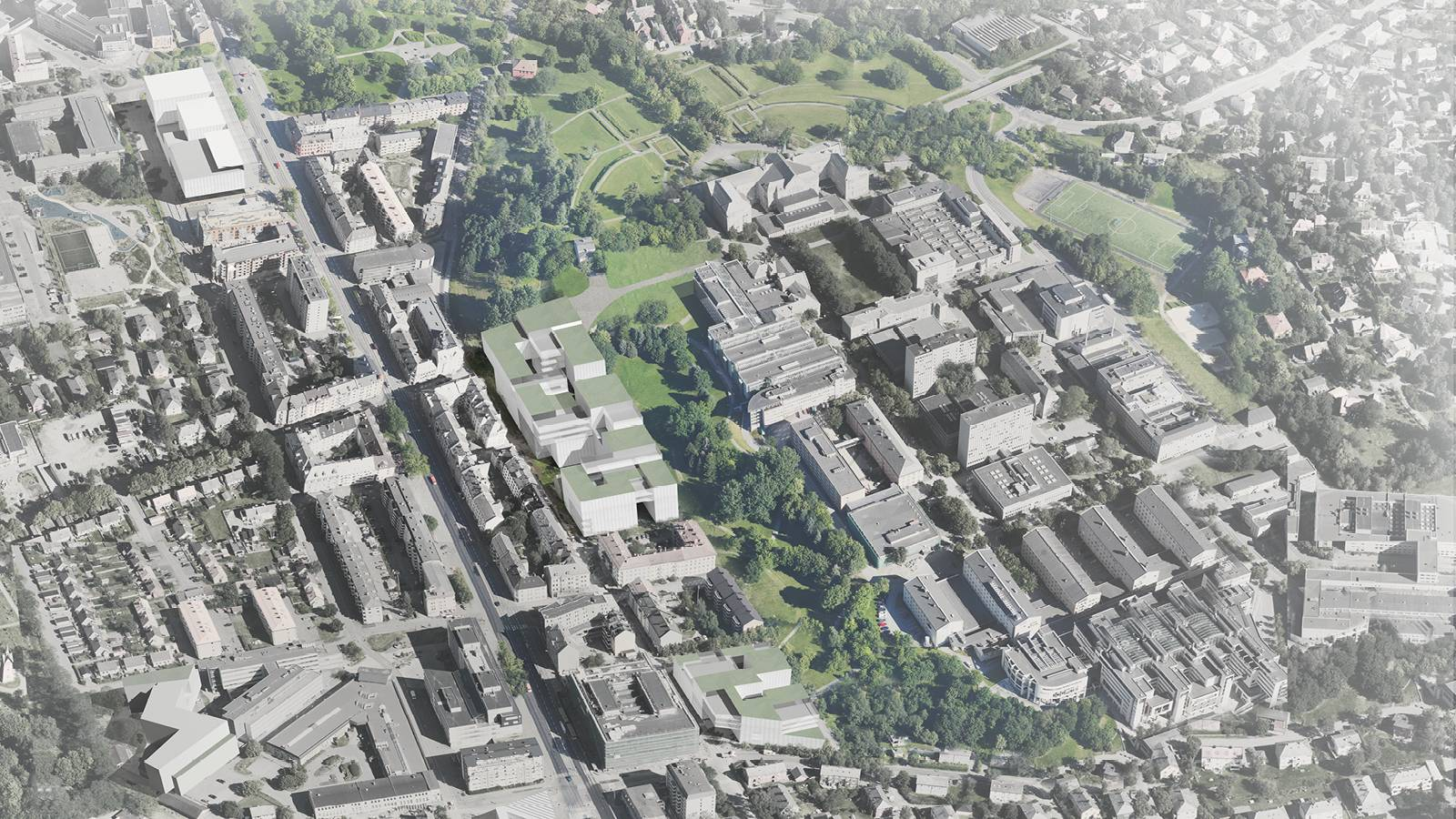CAMPUS AERIAL VIEW - NTNU – More Park, More City! - SPOL Architects