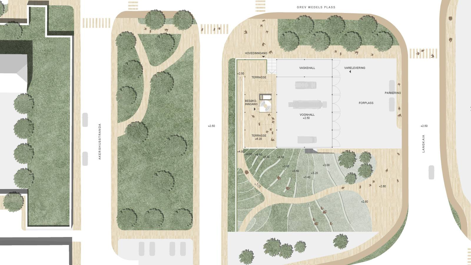 LANDSCAPE AND PUBLIC FLOOR PLAN - Oslo Fire Station - SPOL Architects